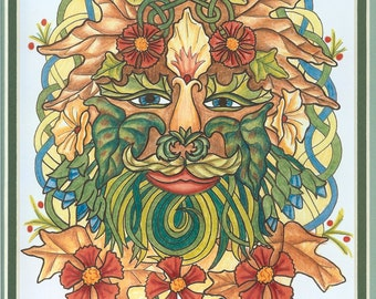 Celtic Greenman Print