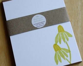 Coneflowers - Coneflower Cards - Flower Stationery - Botanical Collection - Hand Printed Stationery - Set of 6