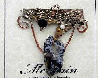 Crystal Cave Opal and Onyx  Brooch  in Sterling Married Metals by Cathleen McLain McLainJewelry