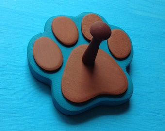 Dog Leash Holder TURQUOISE BLUE with Brown Pads - Wood Paw Print Peg Hook