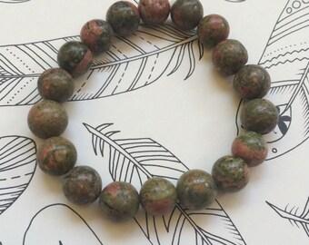 Handmade UNAKITE Jasper stretch bracelet