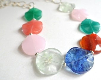 The Genevieve- Multi Color Glass Chain Necklace