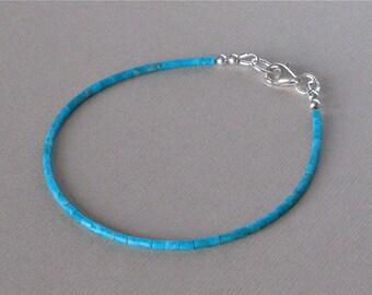 Kingman Turquoise Heishi Bracelet - 7 3/4 inches Long - Tiny 2mm Heishi - Southwestern Jewelry - Skinny Bracelet Perfect for Stacking