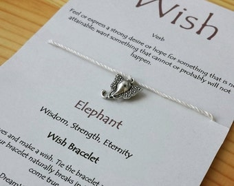 Elephant Wish Bracelet Three Wishes Bracelet Birthday Wish Bracelet Bridal Shower Favor Under 10