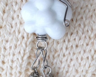 April showers  lamp work cloud bead with crystal raindrops necklace pendant