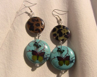 Leopard and sky blue butterfly earrings