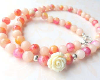 Long Jade Gemstone Necklace,  Pink Jade Beaded Necklace,  Pink and Peach Gift for Her, Feminine Rose Necklace, Pretty Pink Jade Necklace