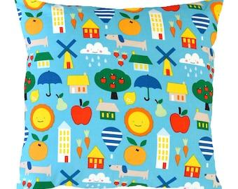Bright Turquoise Happy Days Children's Cushion