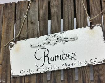 SHABBY CHIC ESTABLISHED Sign, Custom Name Sign, Wedding Sign, 13x5, Romantic Roses, Vintage Inspired Sign, Shabby Chic Wedding, Rustic