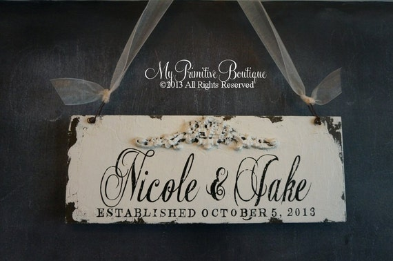 SHABBY CHIC ESTABLISHED Sign, Custom Name Sign, 13x5, Romantic Roses, Floral Accent, Wedding Sign, Mr and Mrs Sign, Door Hanger, Name Sign