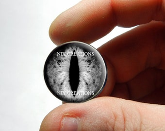 Glass Eyes -  Black and White Dragon Glass Eyes Glass Taxidermy Doll Eyes Cabochons - Pair or Single - You Choose Size