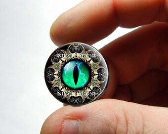Glass Eyes - Green Designer Dragon Eyeball Cabochon for Pendant Earring Ring Blanks - Pair or Single - You Choose Size