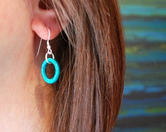 Hand coiled wire drop earrings - turquoise blue colour