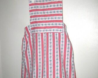Vintage Girls Jumper- Floral Girls Dress- Pink White Floral Print- Cross Back Jumper- Summer Dress- Vintage Girls Dress- Toddler Size 1T 2T