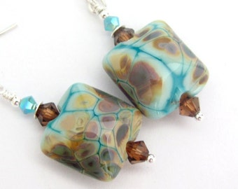 Lampwork Earrings, Tuquoise Blue Earrings, Sterling Silver, Swarovski Crystals, USA Made Lampwork Glass, Dangle Earrings, One of a Kind!