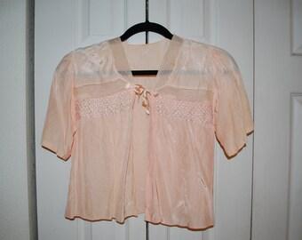 Vintage Peach Satin Bed Jacket