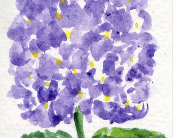 ACEO Purple Hydrangea Original Watercolor Painting Art Card, miniature watercolor painting