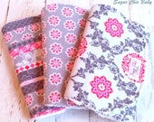 Burp Cloths Baby Girl  - Set of 3 - Super Absorbent Chenille Triple Layer  - Pink and Grey Floral Lattice, Tiny Medallions & Shabby Stripe