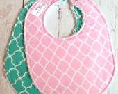 Baby Bibs for Baby Girl  - Pink, Mint Green, Teal, Quatrefoil, Moroccan  -  Set of 2 Triple Layer Chenille  - Pink & Teal Quatrefoil