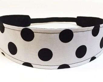Kids Headbands, Baby Headband, Little Girls Headbands, Toddler Headbands  -  Black & White Polka Dot -  Reversible Fabric Headband - DOTTIE