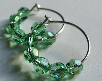 Peridot Earrings Peridot Hoops Hoop Earrings Peridot Swarovski Crystal Hoops Sterling Silver Hoop Earrings