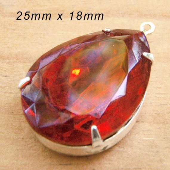 red glass teardrop pendant jewel available at weekendjewelry1 on Etsy