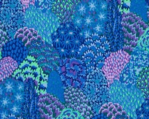 Oriental Trees in Blue by Kaffe Fassett PWGP129 Westminster Fabric / 1/2 yard Cotton, Quilt Craft and Apparrell fabric