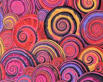 Spiral Shells in RED PWPJ073 by Phillip Jacobs for Westminster Fabric  1/2 yard Cotton, Quilt Craft and Apparrell fabric