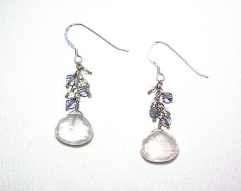 Bronwen - Rose quartz, iolite, crystal quartz earrings