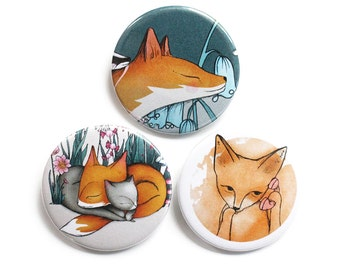 Fox Badges pins buttons fridge magnets - set of three foxes - moshi moshi fox, fox cat dreams and fox face stocking filler stuffer