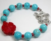 Turquoise, Coral, Sterling, Hill Tribe Fine Silver Bracelet