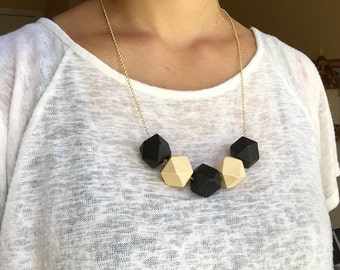 Faceted Geometric Necklace - Black and White on Gold