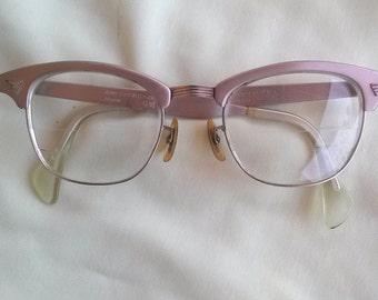 Vintage 1950s Glasses Aluma Pink Cast 20MM 4 1/2 5 3/4 American Optical 2015269