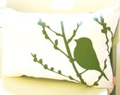 SALE Olive Green on Off- White Bird on Cherry Blossom Pillow
