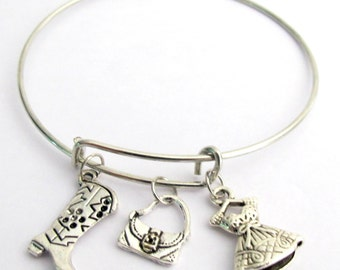 Ballet Bracelet Expandable Bangle Ballet Shoes Dress Double Sided Charms Adjustable Silver Plated Bracelet Free Shipping in USA
