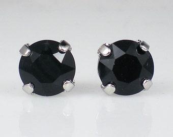 Jet Black Rhinestone Stud Earrings Swarovski Black Wedding Jewelry Flower Girl Earrings Bridesmaid Earrings