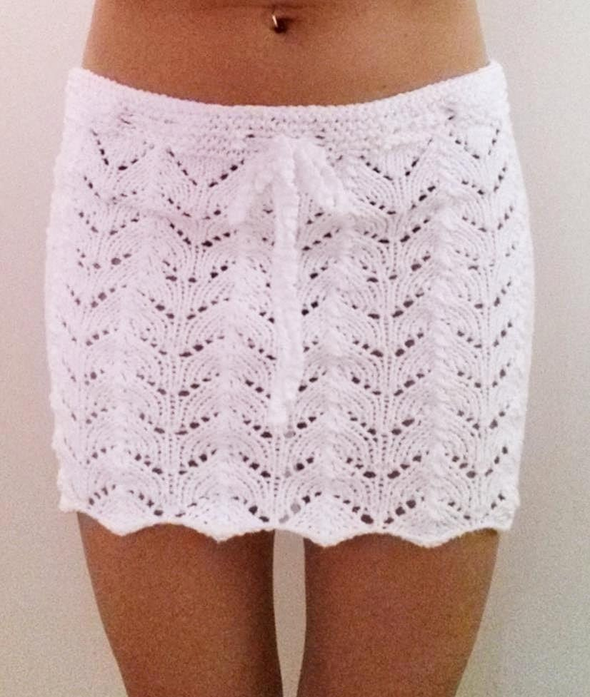 Knit Beach Cover Up Pattern : Lacy Beach Cover Up Mini Skirt PDF Knitting Pattern