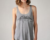 Mountain Print, Twin Peaks, Tri-Blend Tank, Gray Color, Screen Print Tank, Camping Shirt, Nature Inspired, National Parks
