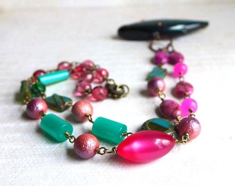 Pink Fishing Lure Necklace - Pink Green Teal Summer Seashore Vacation Jewelry - Moonglow Gemstone Novelty Bead Summer Fish Necklace