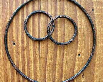 Soot Black Copper Circle Hoop Set - 3 pieces - Patina Artisan Findings