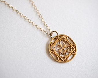 Gold Vermeil Pendant with 14K Gold-fill Necklace (Elena)