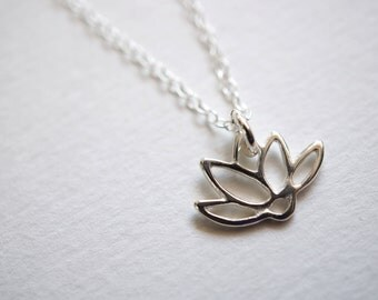 Sterling Silver Lotus Flower Pendant with Silver Necklace
