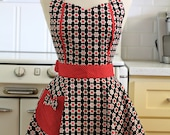Retro Apron Red and Pink Daisies on Black MAGGIE