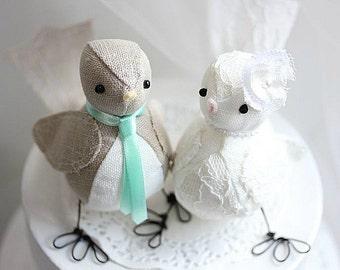 Bird cake topper  - Love  Birds Wedding cake topper -Birds wedding cake topper - Fabric Bird Cake Topper - CUSTOM ORDER