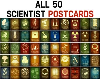 50 Scientist Postcards - Steampunk Rock Star Science and Astronomy Stationary, Geeky Cards, Science Art, Educational STEM Art, Small Prints