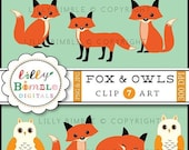 40% off Fox Clipart foxes owl clip art  images for cardmaking, crafts, Instantl Download Woodland