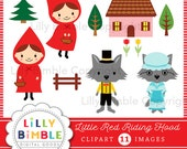 40% off Little Red Riding Hood clipart with wolf, grandma, digital instant download fairytale clip art images
