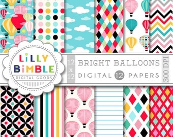 40% off Hot Air Balloons digital papers Balloons bright colors birthday invites, cardmaking, scrapbooking Instant Download