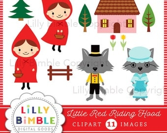 50% off Little Red Riding Hood clipart with wolf, grandma, digital instant download fairytale clip art images