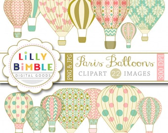 60% off Balloon clipart Paris Hot Air Balloons with damask, digital scrapbooking INSTANT DOWNLOAD